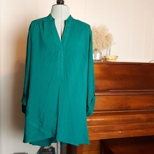 High low emerald blouse